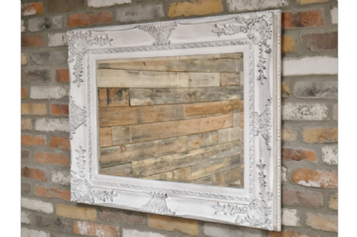White Rustic Large  Mirror